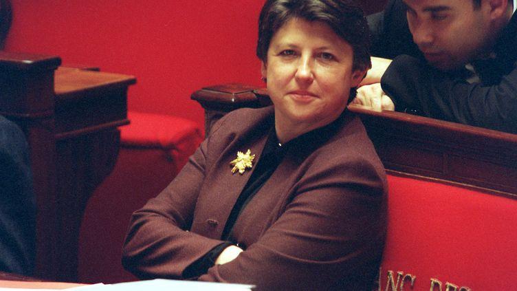 La ministre des Affaires sociales Martine Aubry lors du débat sur le projet de loi sur les 35 heures à l'Assemblée nationale, le 8 décembre 1999. (MAXPP)