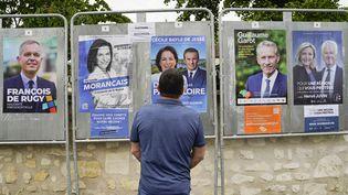 Les affiches du premier tour des élections régionales dans les Pays de la Loire photographiées à Blou (Maine-et-Loire), le 25 mai 2021. (FREDERIC PETRY / HANS LUCAS / AFP)