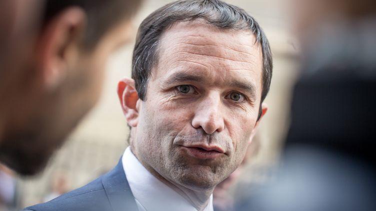 Benoît Hamon répond aux questions des journalistes devant l'Assemblée nationale, à Paris, le 19 mai 2015. (MICHAEL BUNEL / NURPHOTO)