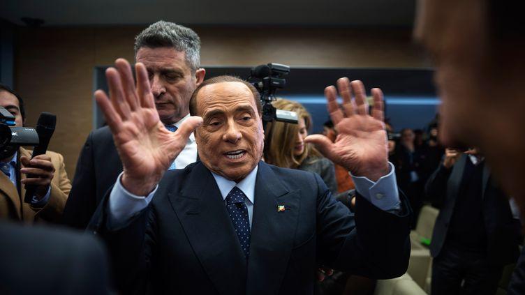 Silvio Berlusconi, le 22 février 2018 à Rome, en Italie. (GETTY IMAGES)