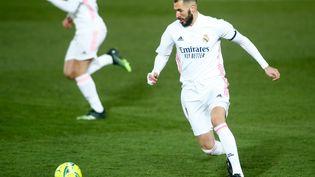 Karim Benzema lors d'un match du Real Madrid, le 2 janvier 2021 àValdebebas (Espagne). (OSCAR BARROSO / SPAIN DPPI / AFP)