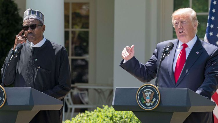 Muhammadu Buhari, le président nigérian, a été reçu le 30 avril 2018 par Donald Trump, son homologue américain. Il est le premier dirigeant africain à avoir eu les honneurs de la Maison Blanche sous l'administration Trump. ( Shutterstock/SIPA)