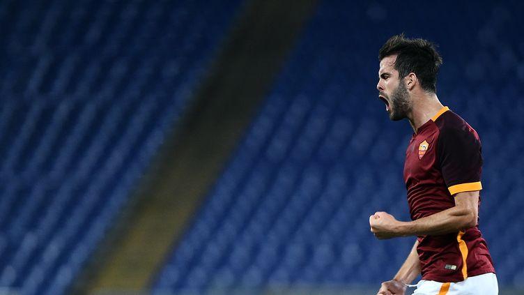 Miralem Pjanic a ouvert le score pour la Roma face à Empoli. (FILIPPO MONTEFORTE / AFP)