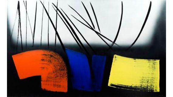 Hans Hartung (1904-1989),T 1973-E12,1973, acrylique sur toile,154x250 cm. (COPYRIGHT : ADAGP 2011 / FONDATION POUR L'ART, GENÈVE, PHOTOGRAPHIE SANDRA POINTET)