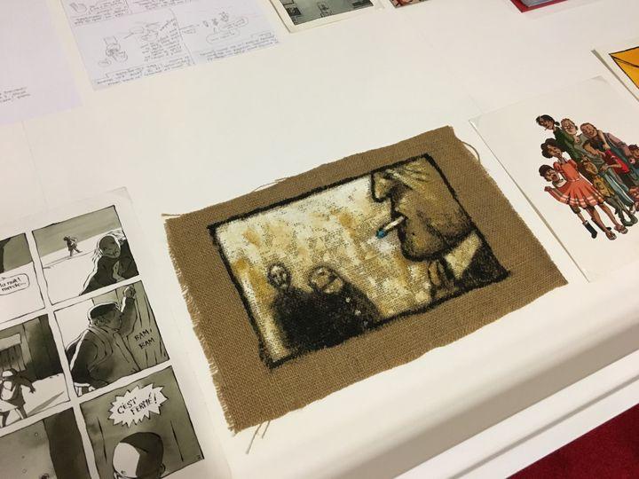 """Acrylique sur toile de jute, Riad Sattouf, 96-98, exposition """"L'écriture dessinée"""", BPI, Centre Pompidou"""