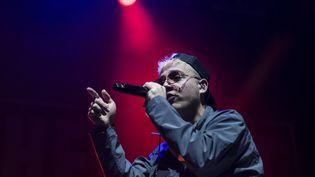 """Le rappeur PLK (Mathieu Pruski),sur scène au festival """"The Beat Festival"""", Genève, Suisse, le 26 janvier 2019 (ADRIEN PERRITAZ / KEYSTONE)"""