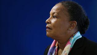 La garde des Sceaux Christiane Taubira, lors d'un discours, à Paris, le 6 mai 2015. (THOMAS SAMSON / AFP)