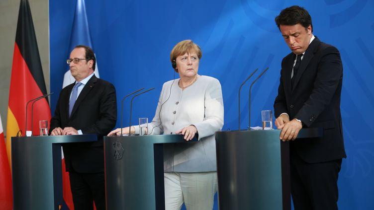 François Hollande, Angela Merkel et Matteo Renzi, à Berlin, le 27 juin 2016. (S. KUHLMEY / PACIFIC PRESS / SIPA)