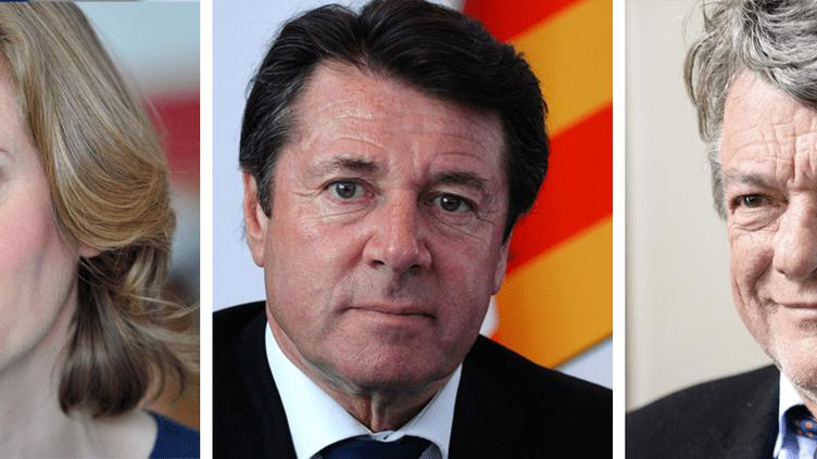 Nathalie Kosciusko-Morizet, Christian Estrosi et Jean-Louis Borloo font partie desélus de droite prêts à suivre Emmanuel Macron. (FRANCEINFO / AFP)