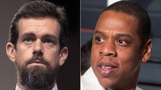 Jack Dorsey, patron de Twitter (à gauche) et Jay-Z, rappeur américain et époux de Beyoncé (à droite). (JIM WATSON / AFP)
