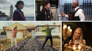"""Les séries """"Disparu à jamais"""", """"Brooklyn Nine-Nine"""", """"Mr Corman"""" et """"Nine perfect strangers"""" font partie des nouveautés du mois d'août 2021. (Magali Bragard / Jordin Althaus/NBC / Apple TV + / Amazon Prime Video)"""
