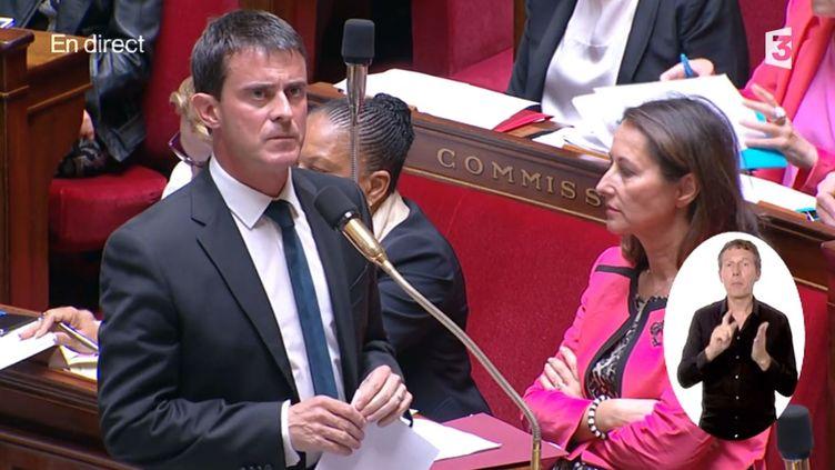 Manuel Valls lors des questions au gouvernement, à l'Assemblée nationale, à Paris, le 15 juillet 2014. ( FRANCE 3 / FRANCETV INFO)