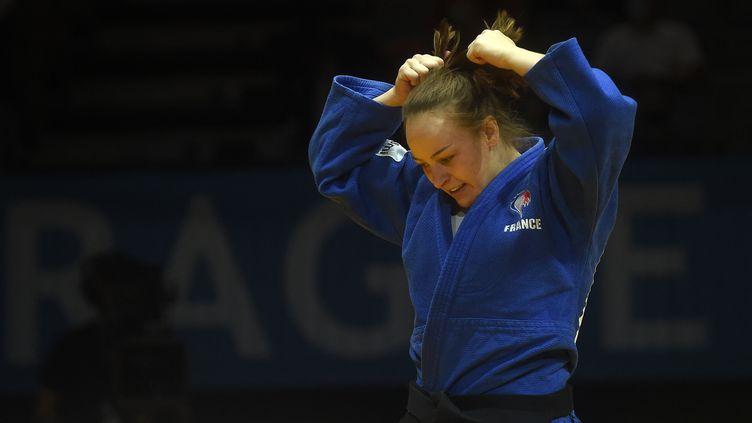 La judokate Margaux Pinot vice-championne d'Europe à Lisbonne le 17 avril 2021 (Michal Cizek / AFP) (MICHAL CIZEK / AFP)