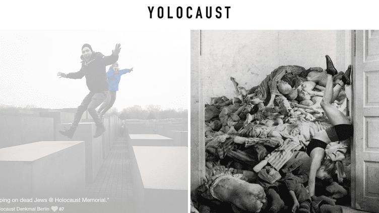 """Capture d'écran du site """"Yolocaust"""", présentant des montages de selfies et de photosprises dans les camps de concentration. (SHAHAK SHAPIRA / YOLOCAUST)"""
