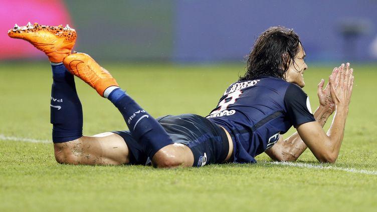 L'attaquant du PSG Edinson Cavani lors du match à Monaco, le 30 août 2015. (VALERY HACHE / AFP)