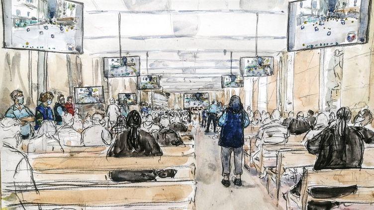 Vue générale de la salle d'audiencedu procès des attentats du 13-Novembre, au palais de justice de Paris, le 16 septembre 2021. Illustration. (BENOIT PEYRUCQ / AFP)