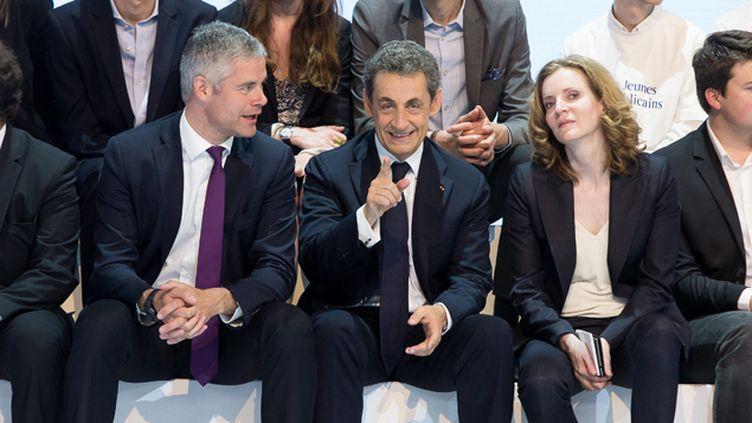 (Nicolas Sarkozy, Laurent Wauquiez et Nathalie Koscuisko-Morizet lors du congrès fondateur du nouveau parti Les Republicains, en mai 2015 © MaxPPP)