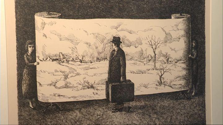 Roland Topor - Le Voyageur immobile -1968 - lithographie - BnF - département des estampes et photographies (S. Vinot / France Télévisions)