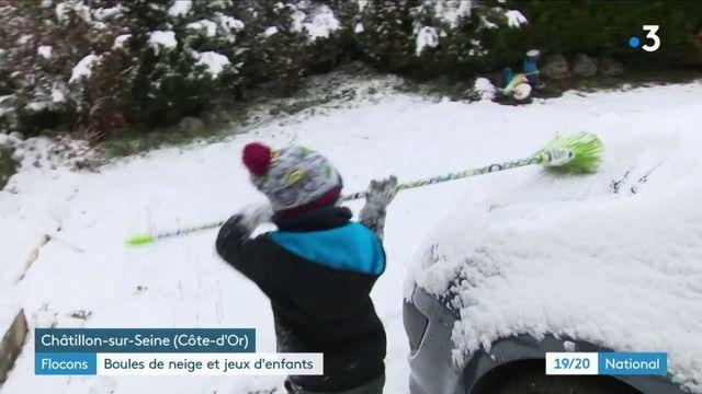 Météo : de la Bretagne à la Bourgogne, la neige a réjoui les enfants