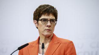 La présidente démissionnaire de la CDU,Annegret Kramp-Karrenbauer, lors d'une conférence de presse le 7 février 2020 à Berlin. (ABDULHAMID HOSBAS / ANADOLU AGENCY / AFP)