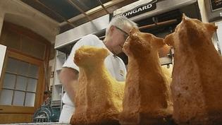 Outre les fameux chocolats, en Alsace, Pâques est aussi l'occasion de manger le traditionnel lamala, un biscuit génoise en forme d'agneau. (FRANCE 3)