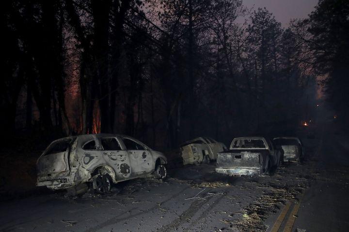 De nombreux véhicules calcinés ont été découverts à Paradise. (JUSTIN SULLIVAN / GETTY IMAGES NORTH AMERICA / AFP)