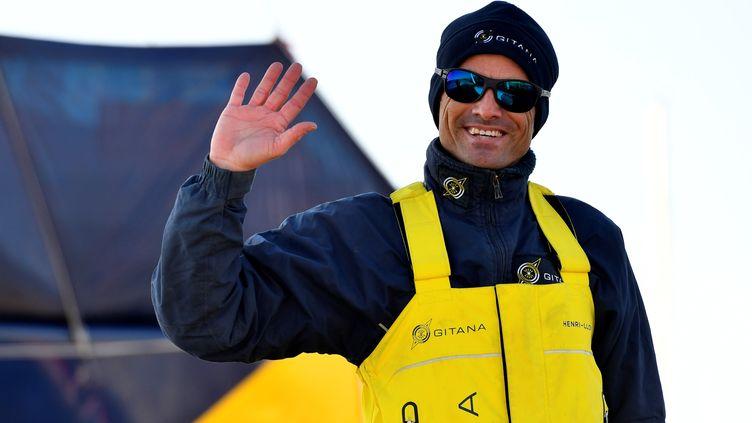 Le skipper français Franck Cammas avant de quitter le port de Lorient (Finistère), le 9 janvier 2021. (FRED TANNEAU / AFP)