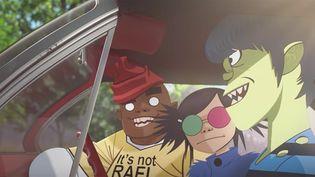"""Russel, Noodle et Murdoc des Gorillaz dans le clip de """"Saturnz"""".  (Jamie Hewlett)"""