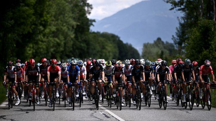 Le peloton du Tour de France 2021 entre Albertville et Valence, le 6 juillet. (ANNE-CHRISTINE POUJOULAT / AFP)