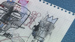 Une des oeuvres exposées à la galerie Volcano de Nuits-Saint-Georges. Vrai ou faux Basquiat ? (France 3 Bourgogne)