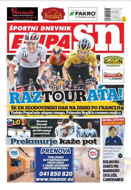 Primoz Roglic et Tadej Pogacar en Une de Ekipa SN, le quotidien sportif slovène.
