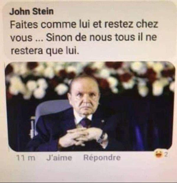 L'ancien président algérien Abdelaziz Bouteflika dans un tweet satirique.    (Author provided)