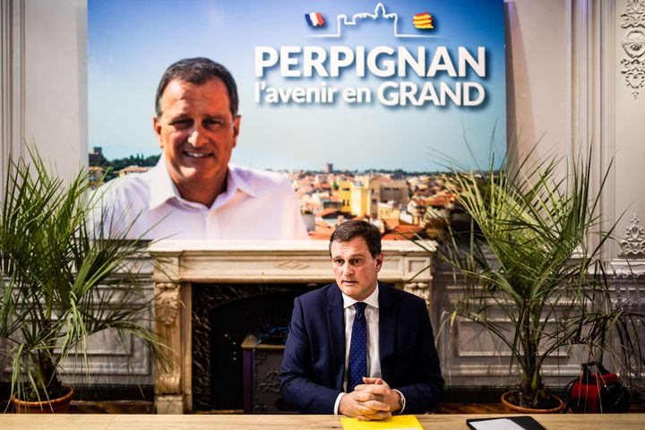 Louis Aliot présente ses voeux à la presse dans son local de campagne à Perpignan (Pyrénées-Atlantiques), le 3 janvier 2020. (JC MILHET / HANS LUCAS / AFP)