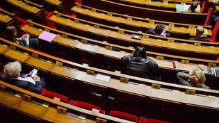 Des députés dans l'hémicycle de l'Assemblée nationale, le 6 avril 2021. (JACOPO LANDI / HANS LUCAS / AFP)