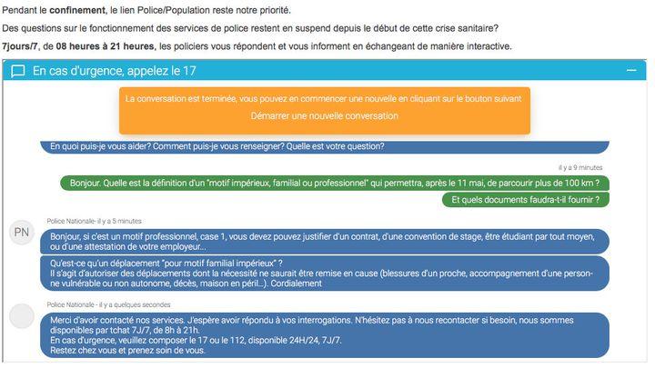 """Capture d'écran de la plateforme du """"tchat"""" de la police nationale mis en place pour répondre aux questions liées à la sécurité pendant la crise sanitaire. (POLICE NATIONALE)"""