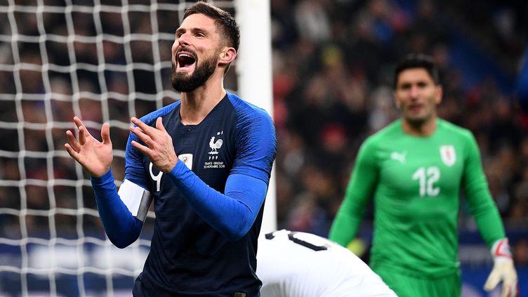 Olivier Giroud, buteur face à l'Uruguay (FRANCK FIFE / AFP)