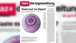 Le journal allemand Die Tageszeitung a imprimé une kippa en une de son édition du 25 avril 2018. (DIE TAGESZEITUNG / TWITTER)