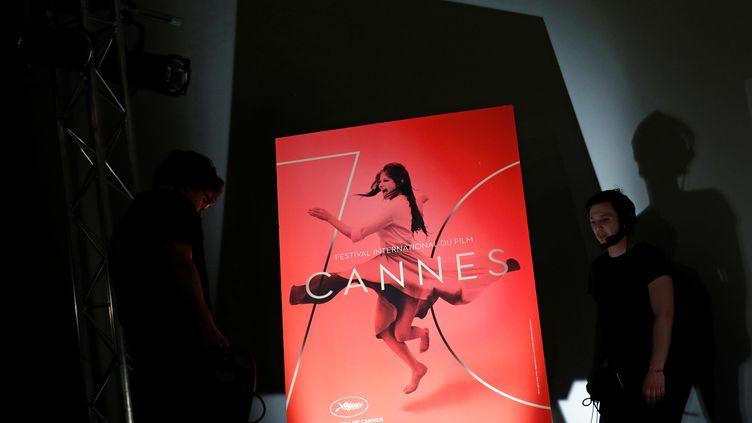 L'affiche du 70e festival de Cannes lors de l'annonce de la sélection officielle, le 13 avril 2017 à Paris. (PHILIPPE WOJAZER / X00303)