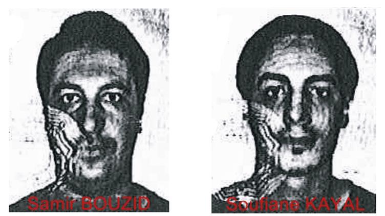 Photographie diffusée vendredi 4 décembre 2015 par la police fédérale belge montrant les deux hommes recherchées dans le cadre de l'enquête sur les attentats de Paris. (POLICE FEDERALE BELGE)