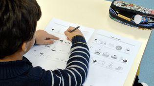 Un élève dans une classe de CP/CE1 dans une école de Montpellier (Hérault) le 28 janvier 2019. (MICHAEL ESDOURRUBAILH / MAXPPP)