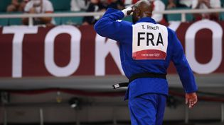 Teddy Rinervient de se faire éliminer par le RusseTamerlan Bashaev, en quart de finale des plus de 100 kilos, le 30 juillet 2021 aux JO de Tokyo. (FRANCK FIFE / AFP)