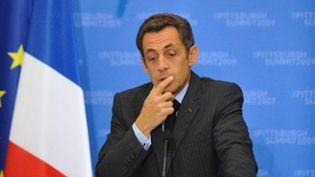 Nicolas Sarkozy lors de la conférence de presse tenue à l'issue du sommet du G20 de Pittsburgh (© AFP / ERIC FEFERBERG)