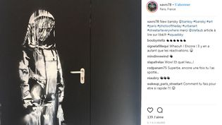 L'oeuvre réalisée à l'arrière du Bataclan par Banksy et postée sur Instagram, lundi 25 juin 2018. (XAVRS78 / INSTAGRAM)