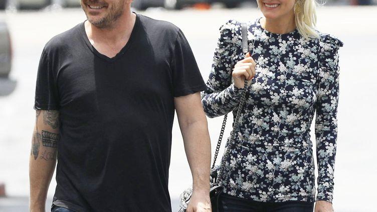Sébastien Farran, dernier manager de Johnny Hallyday, et Laeticia Hallyday, le 14 mai 2019 en Californie (Etats-Unis). (X17/SIPA)