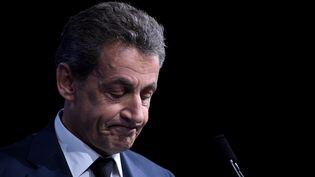 L'ancien président Nicolas Sarkozy lors d'un Conseil national des Républicains, le 14 février 2016. (LIONEL BONAVENTURE / AFP)