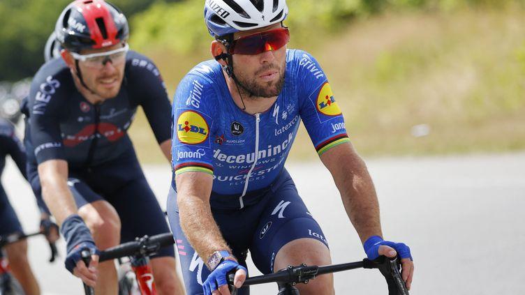 Mark Cavendish dans le peloton lors de la troisième étape du Tour de France, le 28 juin 2021. (THOMAS SAMSON / AFP)
