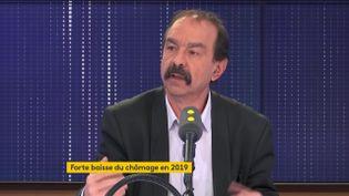 Philippe Martinez, secrétaire général de la CGT, sur franceinfo mardi 28 janvier. (FRANCEINFO / RADIOFRANCE)