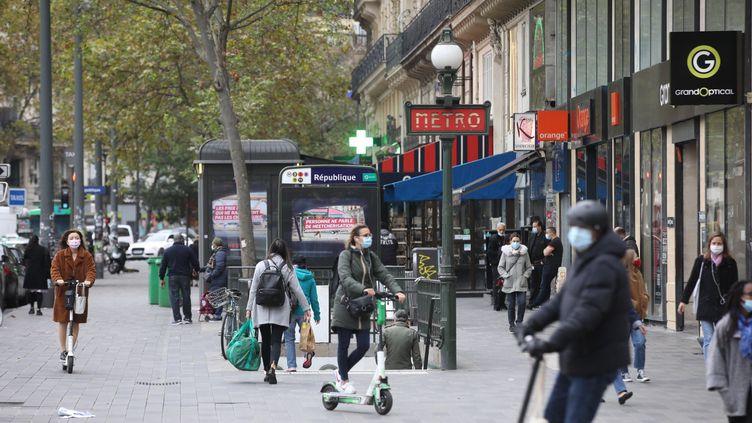 La Place de la République à Paris (XIème arrondissement), le 30 octobre 2020. (OLIVIER ARANDEL / MAXPPP)