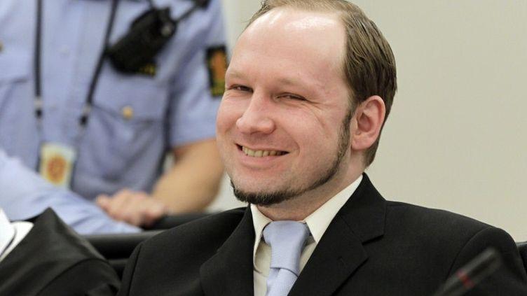 Anders Behring Breivik lors des réquisitions à son procès, le 21 juin 2012 à Oslo (Norvège). (ROALD BERIT / AFP)