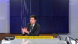 """Julien Denormandie, ministre de la Ville et du Logement, était l'invité du """"8h30 franceinfo"""" le vendredi 7 février 2020 (capture écran). (FRANCEINFO / RADIOFRANCE)"""